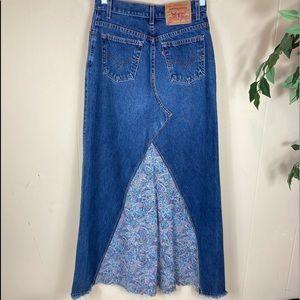 RARE 90's Vintage Levi's Boho Denim Maxi Skirt